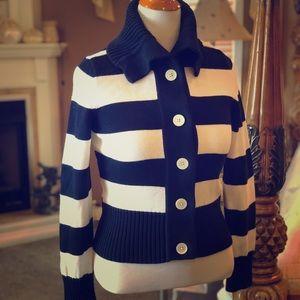 🌸Chaps RL Navy & White Striped Cardigan Size L